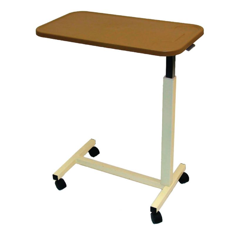 Overbed table with casters and ratchet handle